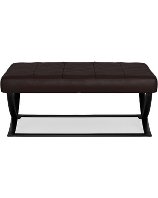James Large Ottoman, Bronze, Tuscan Leather, Chocolate