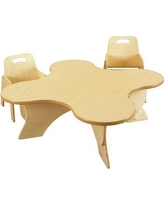 """Childcraft kids Adjustable Toddler 5 Piece Writing Table & Chair Set, Wood in Beige, Size 19""""H X 35""""W X 35""""D 