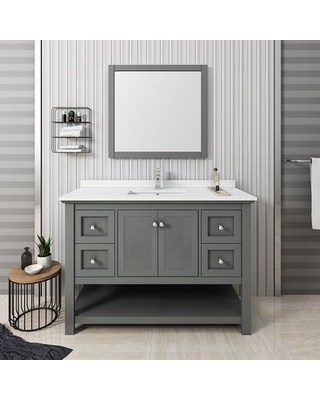 "Manchester 48"" Single Bathroom Vanity Set with Mirror Fresca Base Finish: Gray Wood Veneer"