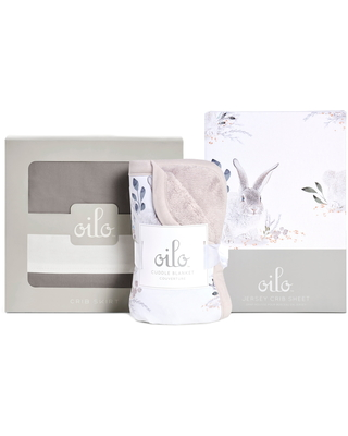 Oilo Cottontail Crib Skirt, Cuddle Blanket & Fitted Crib Sheet Set, Size One Size - Grey