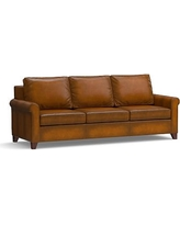 """Cameron Roll Arm Leather Grand Sofa 100"""", Polyester Wrapped Cushions, Leather Burnished Bourbon"""