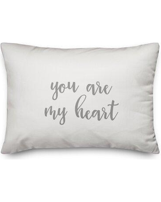 Ebern Designs Miral You Are My Heart Throw Pillow W000338720 Color: Gray/White