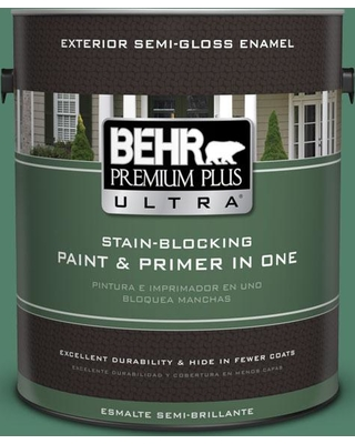 BEHR Premium Plus Ultra 1 gal. #M430-6 Park Bench Semi-Gloss Enamel Exterior Paint and Primer in One