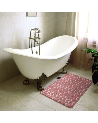 Single Color Lined Chevrons Bath Mat (17 x 24 - Red)