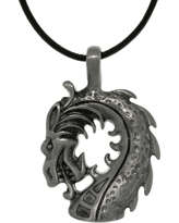 Pewter Unisex Dragon Head Black Leather Cord Necklace (White - 20 Inch)