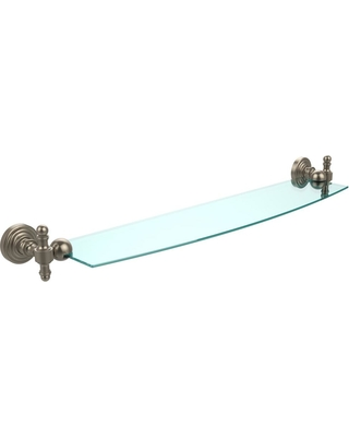 Allied Brass Retro Wave 24 in. Glass Shelf in Antique Pewter