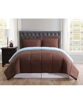 Truly Soft Everyday Brown and Light Blue Reversible Twin XL Comforter Set, Chocolate And Light Blue