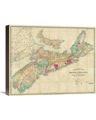 """Global Gallery Mackinlay's Map of The Province of Nova Scotia Including The Island of Cape Breton 1868 Graphic Art Print on Wrapped Canvas GCS-295595- Size: 18"""" H x 22"""" W x 1.5"""" D Frame Color: Turkish Coffee"""