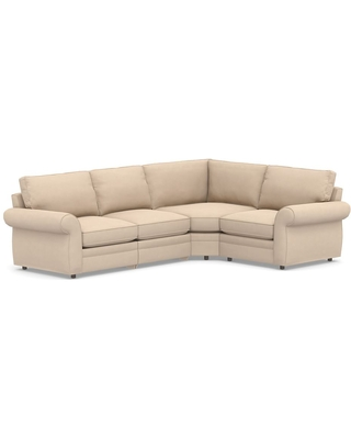 Pearce Roll Arm Upholstered Left Arm 4-Piece Reclining Wedge Sectional, Down Blend Wrapped Cushions, Performance Everydayvelvet(TM) Buckwheat