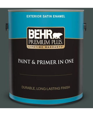 BEHR PREMIUM PLUS 1 gal. #QE-48 New Forest Satin Enamel Exterior Paint and Primer in One