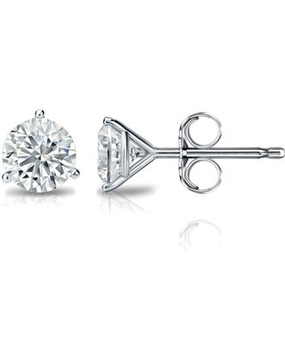 14k Gold 1/4ctw Round-cut Lab Grown Diamond Stud Earrings by Ethical Sparkle (Rose)