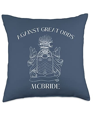 McBride Family Reunion Apparel & Accessories McBride Coat of Arms - Against Odds - Distressed Throw Pillow, 18x18, Multicolor