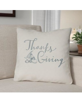 """The Holiday Aisle Thanksgiving Indoor/Outdoor Throw Pillow HLDY1193 Size: 20"""" H x 20"""" W x 4"""" D, Color: White/Blue"""