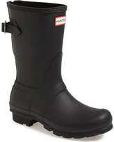 Women's Hunter Original Short Back Adjustable Rain Boot, Size 5 M - Black