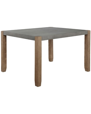 Alaterre Furniture Newport Light Amber Wood and Gray Faux Concrete and Wood Loft Dining Table