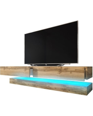Meble Furniture & Rugs Fly Wall Mounted Floating TV Stand 16 Colors LED  Fits 60