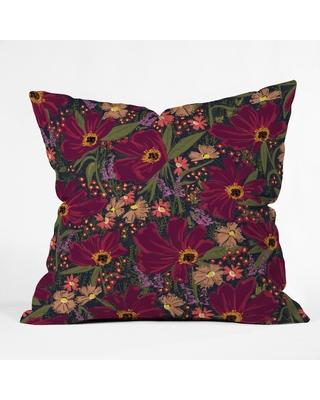 Maroon (Red) Floral Throw Pillow - Deny Designs
