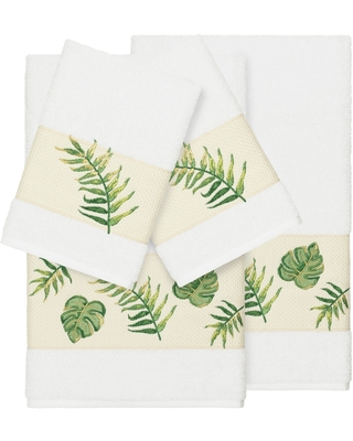 Authentic Hotel and Spa Turkish Cotton Palm Fronds Embroidered White 4-piece Towel Set