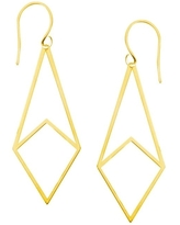 14k Draw The Line Harper Geometric Box Chain Threader Earrings in Rose Gold White Gold Yellow Gold