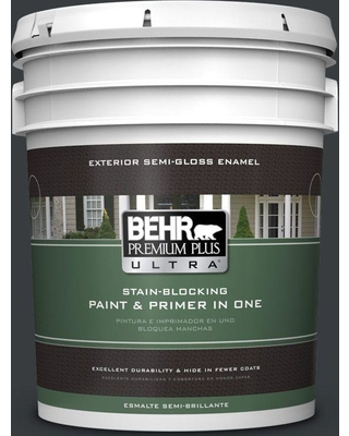 BEHR ULTRA 5 gal. #750F-7 Deep Space Semi-Gloss Enamel Exterior Paint and Primer in One