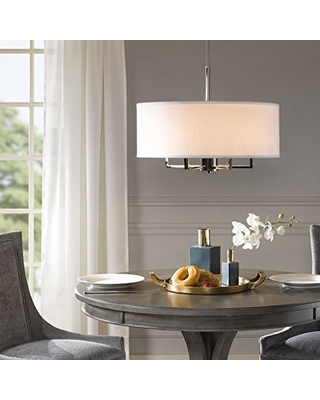 Madison Park Signature Mps150 0066 Broderick 6 Modern Chandeliers Metal White Fabric Shade Pendant Ligthing Lamp Ceiling