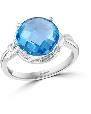 Effy Jewelry Blue Topaz Cocktail Ring with Diamonds in 14K White Gold, 6.04 TWC Size- 7 (7 - White - Blue)