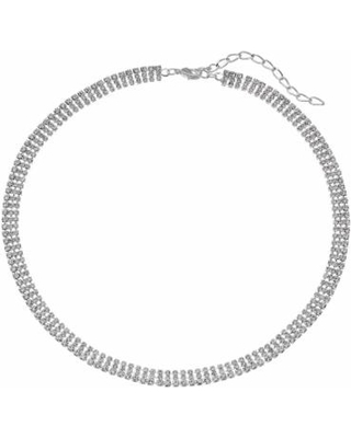 Simulated Crystal Multi Row Necklace, Women's, Natural