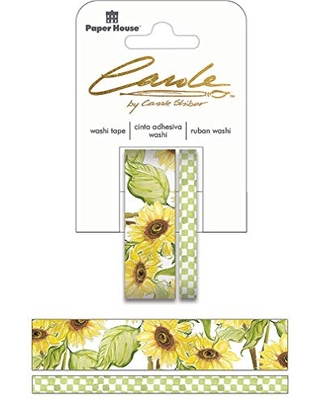 Paper House Productions Carole Shiber Soft Sunflowers Set of 2 Foil Accent Washi Tape Rolls for Scrapbooking and Crafts
