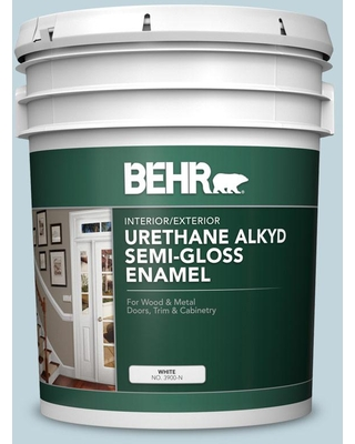 BEHR 5 gal. #S470-1 Cloudy Sky Urethane Alkyd Satin Enamel Interior/Exterior Paint