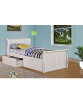 Twin Sleigh Bed in White with Dual Under Bed Drawers - Donco 325-TW_505-W