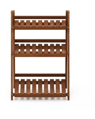 Furinno 33.5 in. Natural Wood 3-shelf Ladder Bookcase with Open Back