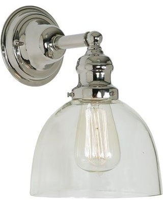 Breakwater Bay Shumway 1-Light Mouth Blown Glass Wall Sconce W001283562 Finish: Polished Nickel