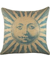 TheWatsonShop Sun Burlap Throw Pillow BBLUESUN16 / BPINKSUN16 Color: Blue