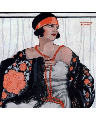 """Marmont Hill Vintage Fashion Flapper in Shawl and Beads by Guernsey Moore Painting Print on Wrapped Canvas MH-FASGLM-12-C Size: 24"""" H x 24"""" W x 1.5"""" D"""