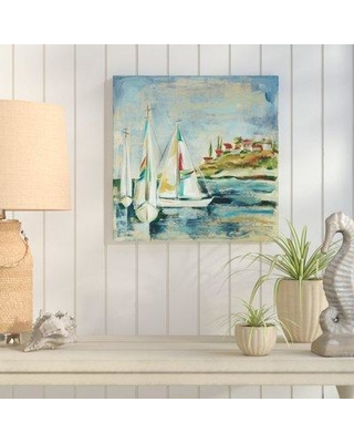 """Breakwater Bay Sailboats I Painting Print on Wrapped Canvas BRWT4667 Size: 14"""" H x 14"""" W x 2"""" D"""