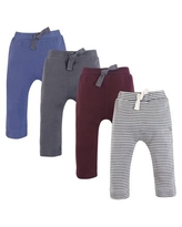 Touched by Nature Baby and Toddler Boy Organic Cotton Pants 4pk, Charcoal Burgundy, 9-12 Months