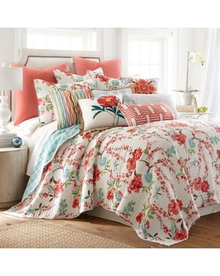 Amazing Savings On Levtex Home Martha Floral Reversible King Quilt Set In Red