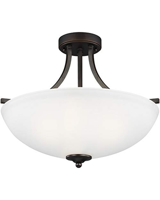 Sea Gull Lighting Generation 7716503-710 Transitional Three Light Semi-Flush Convertible Pendant from Seagull-Geary Collection in Bronze/Dark Finish, Two, Burnt Sienna
