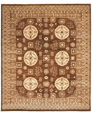 """One-of-a-Kind Yaak Hand-Knotted 2010s Ushak Brown 8'1"""" x 9'10"""" Wool Area Rug Isabelline"""