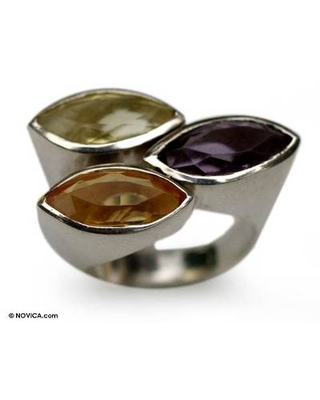 Amethyst and citrine 3 stone ring
