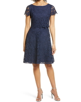 Shani Popover Lace Fit & Flare Dress, Size 2 in Navy at Nordstrom