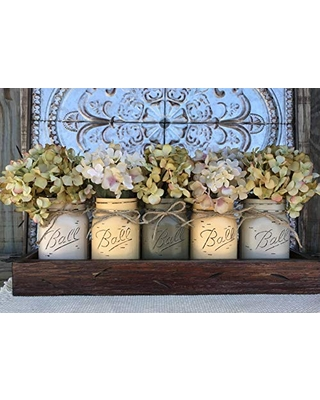 Mason Canning JARS in Wood ANTIQUE RED Tray Centerpiece with 5 Ball Pint Jar -Kitchen Table Decor -Distressed -Flowers (Optional)- SAND X2, EGGNOG X2, PEWTER X1 Painted Jars (Pictured)