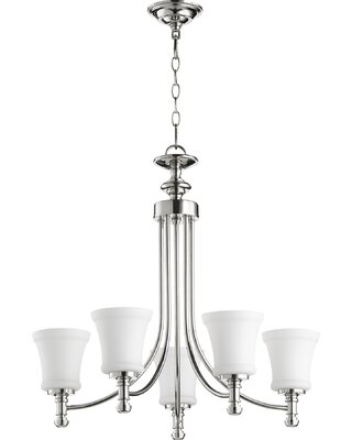 Herman 5-Light Shaded Classic / Traditional Chandelier Charlton Home® Finish: Polished Nickel