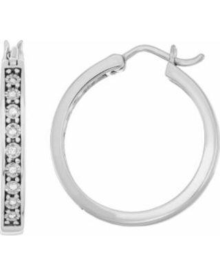 Sterling Silver Diamond Accent Illusion Plate Hoop Earrings, Women's, White