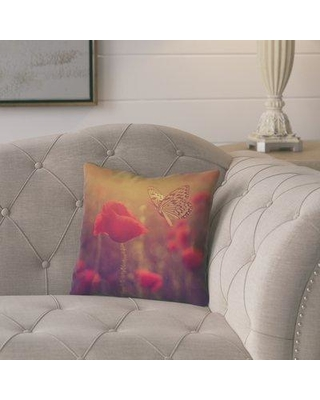 """Ebern Designs Fryer Butterfly and Rose Floral Throw Pillow W001200750 Size: 20"""" H x 20"""" W Color: Red/Orange"""