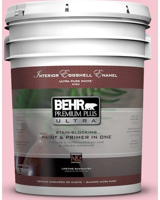 BEHR Premium Plus Ultra 5 gal. #120B-4 Old Fashioned Pink Eggshell Enamel Interior Paint and Primer in One