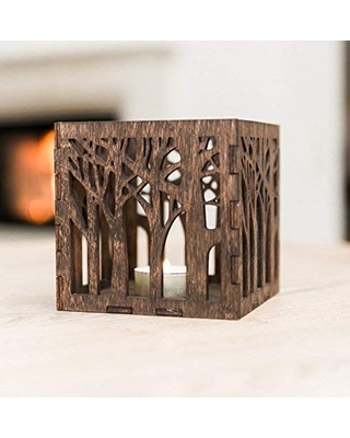 Wooden Candle Lantern 4.3x4.3x4.3 inches - Wooden Candle Holder - Rustic Candle Holder - Brown Lasercut Candle Holder - Wooden Tealight Lantern