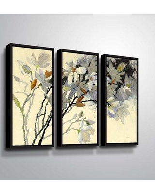"Red Barrel Studio 'Magnolias' Watercolor Painting Print Multi-Piece Image on Wrapped Canvas RDBT7285 Format: Black Framed Size: 24"" H x 36"" W x 2"" D"