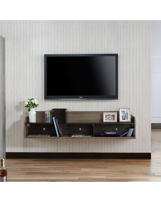 Furniture of America Alex Wall Mount Wood TV Stand, Brown Chestnut
