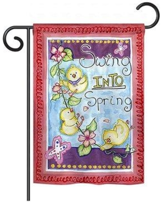 "Breeze Decor Swing into Spring 2-Sided Vertical Flag 55045 Size: 40"" H x 28"" W"